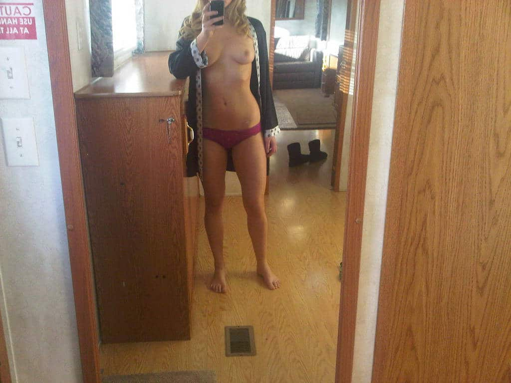 Jennifer Lawrence In Pink Thong And Topless Mirror Selfie